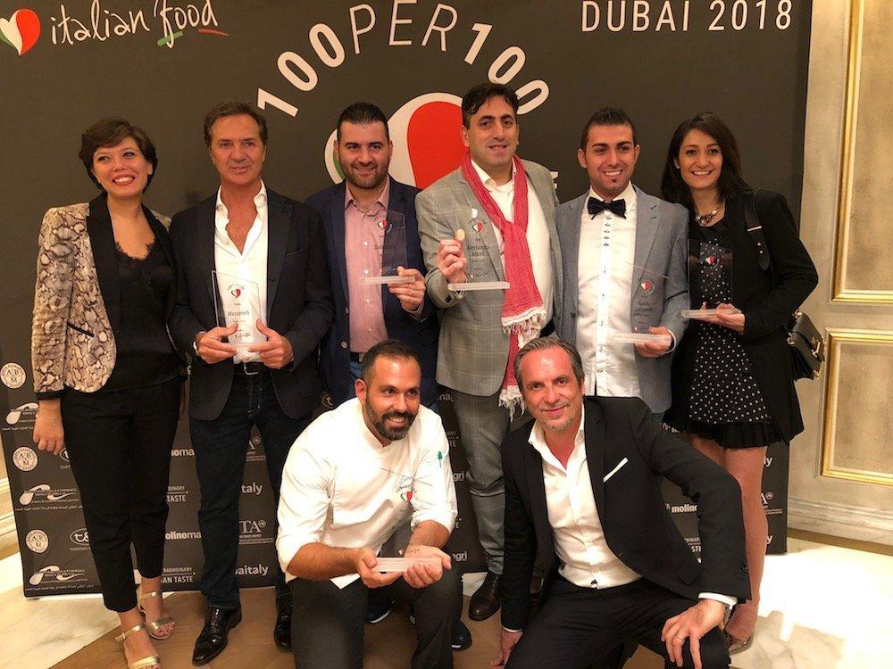 """I riconoscimenti """"100per100 Italian"""" ai ristoranti di Dubai"""