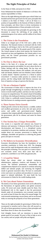 Gli 8 principi che guidano Dubai